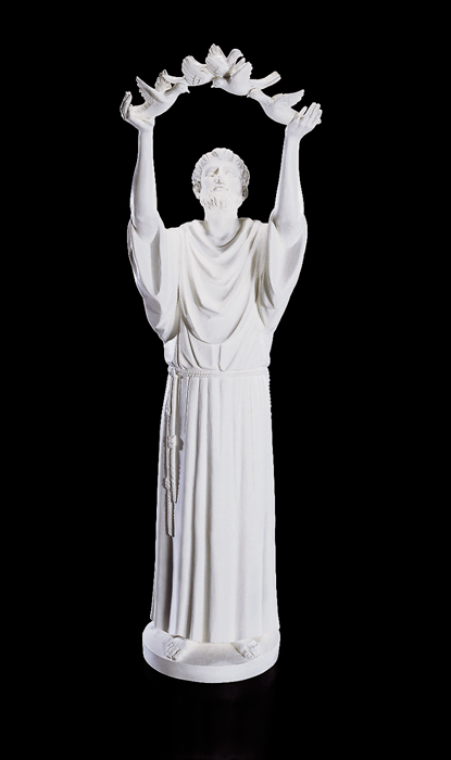 """48"""" St Francis with Doves Statue - White"""