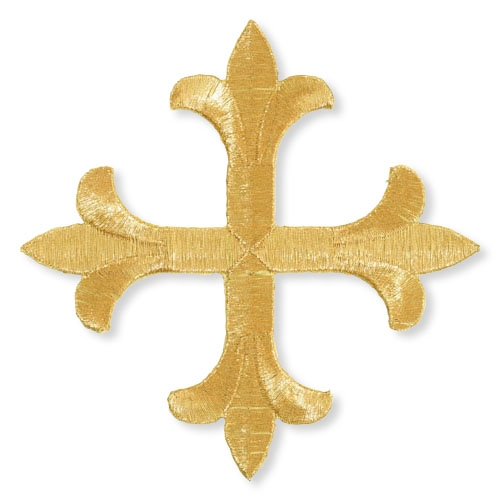 "8"" Symmetric Fleur-de-Lis Cross Embroidered Applique"