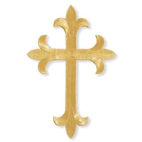 """8"""" Fleur-de-Lis Cross Embroidered Applique"""