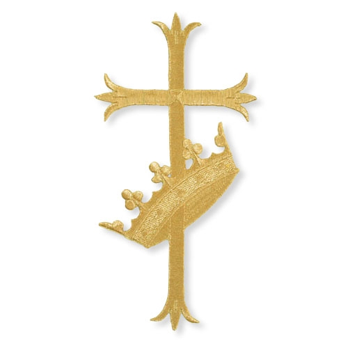 """3-1/2"""" Fleur-de-Lis Cross with Crown Embroidered Applique"""