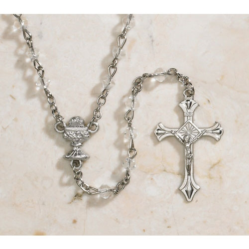 4mm Diamond Shape Crystal Glass First Communion Rosary - 12/pk
