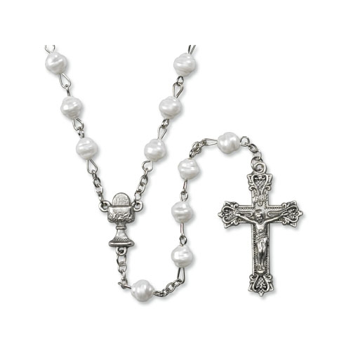 First Communion Imititation Fresh Water Pearl Rosary - 12/pk