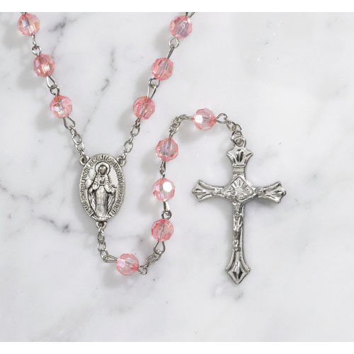 Acrylic Faceted Pink Finish Rosary - 12/PK
