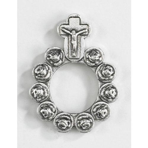 Silver Rosebud Rosary Ring - 50/pk