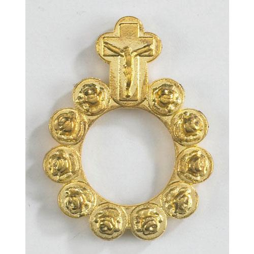 Gold Rosebud Rosary Ring - 50/pk