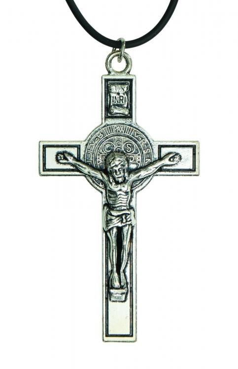 St. Benedict Silver Crucifix Pendant - 12/pk