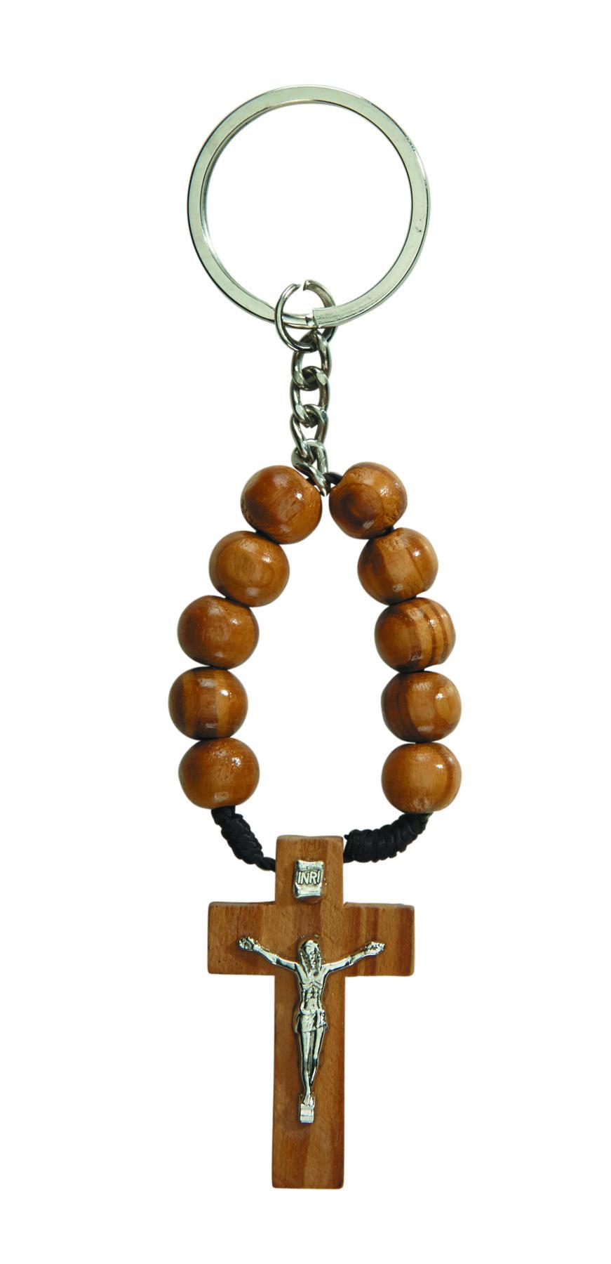 Wood One Decade Rosary Key Chain - 24/pk