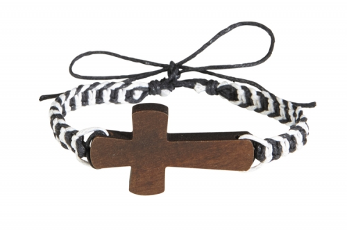 Colorful Braided Wood Cross Bracelet Assortment (6 Asst) - 12/pk