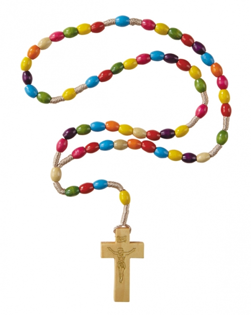 Colorful Wood Cord Rosary - 12/pk