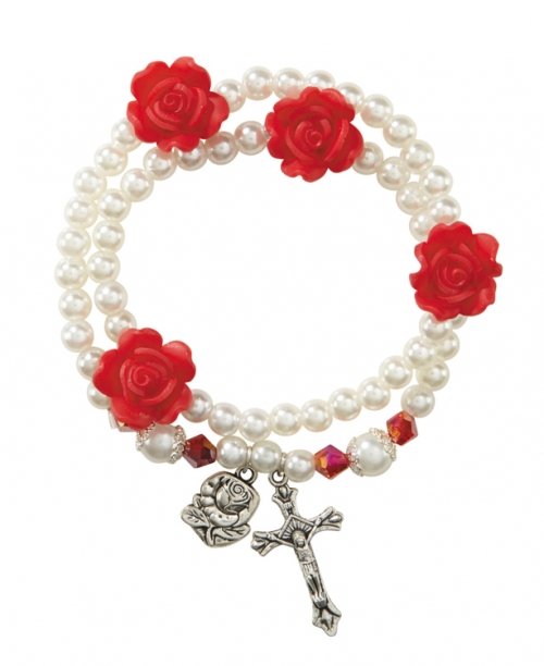 Imit. Pearl with Rose Bead Wrap Style Rosary Bracelet - 6/pk