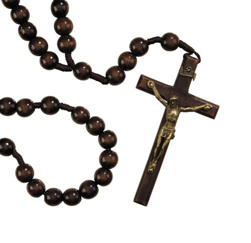 14MM Wood Cord Rosary - 4/PK