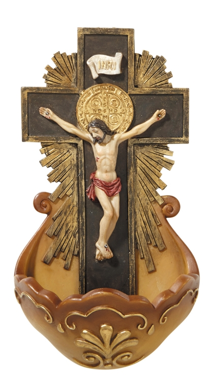 St. Benedict Crucifix Holy Water Font - 2/pk