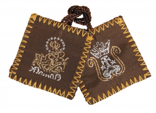 Brown Wool Scapular with Holy Water Bottle - 12/pk