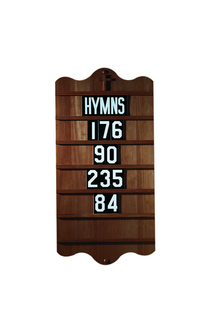 "Hymn Board with 5 Sets of Numerals & ""Hymns"""