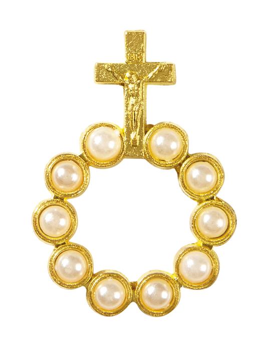 Pearl Bead Rosary Ring - 24/pk