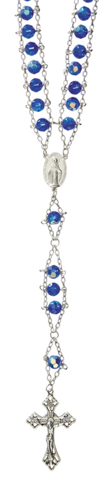 Sapphire Faceted Glass Ladder Rosary