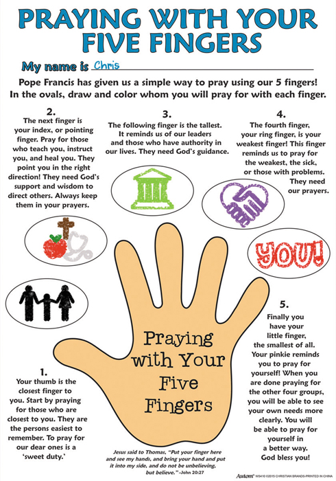 Color Your Own Poster Praying With Your Five Fingers 50pk