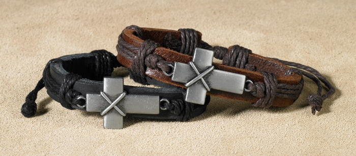 Bold Cross Leather Bracelet Assortment - 12/pk