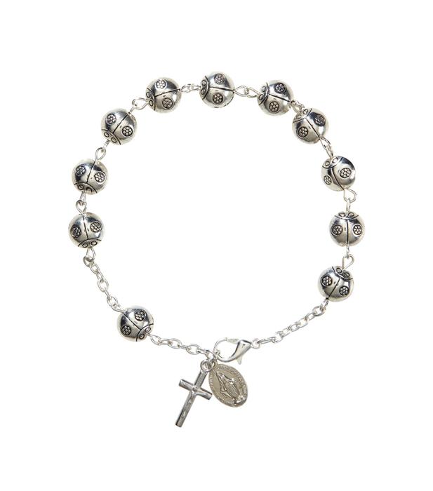 Lady Bug Rosary Bracelet - 12/pk