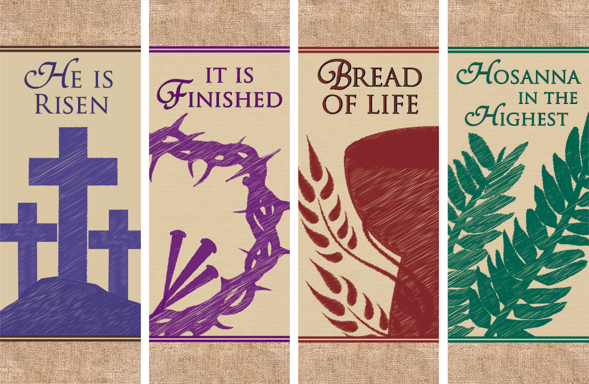 Easter Series X-Stand Banners - Set of 4 - Church Supplies