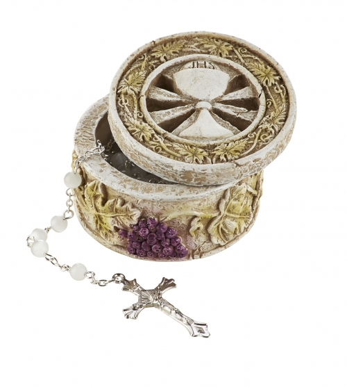 Chalice and Host First Communion Rosary Box - 4/pk