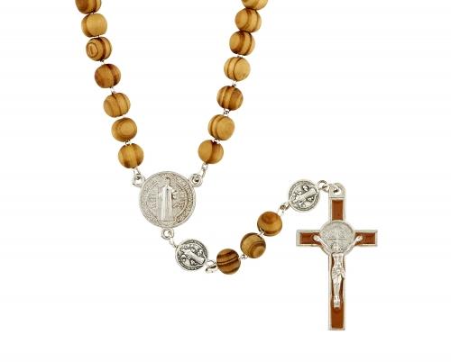 St. Benedict Wood Rosary - 12/pk