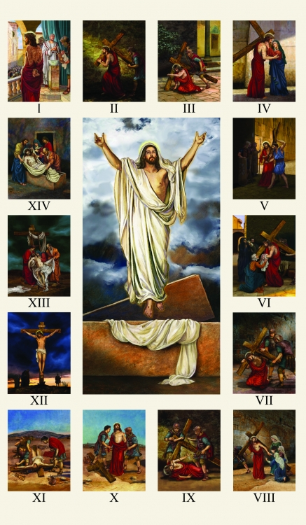 Stations of the Cross Large Holy Card - 100/pk