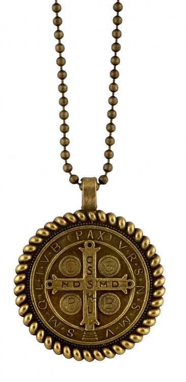 St. Benedict Antique Gold Rope Border Pendant - 12/pk