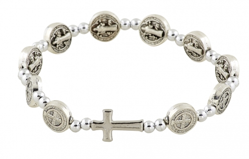 St. Benedict Medals Stretch Rosary Bracelet - 12/pk