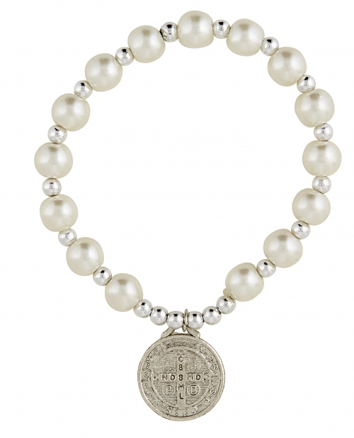 St. Benedict Glass Pearl Bracelet - 12/pk