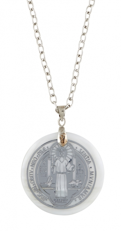 St. Benedict Mother of Pearl Pendant - 12/pk