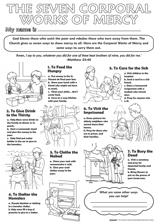 Catholic Devotionals Religious Color Your Own Posters – Corporal and Spiritual Works of Mercy Worksheet