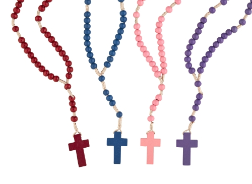 Corded Wood Rosary Assortment (4 Asst) - 24/pk