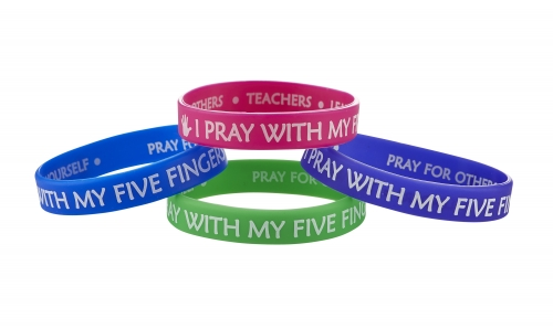 I Pray with My Five Fingers Bracelet Assortment (4 Asst) - 24/pk
