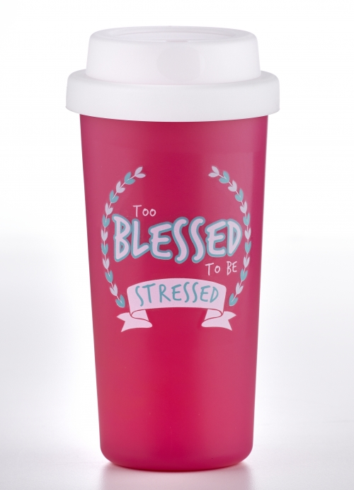 Double Wall Tumbler: Too Blessed to be Stressed