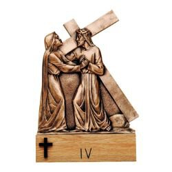 Cast Bronze Stations of The Cross with Base - Set of 15