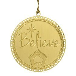Believe Brass Ornament - 24/pk