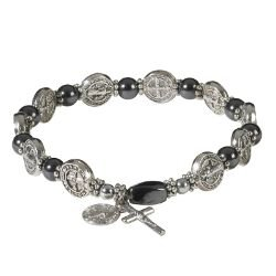 St. Benedict Stretch Hematite Rosary Bracelet - 12/pk