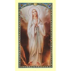 Our Lady of Lourdes Laminated Holy Card - 25/pk