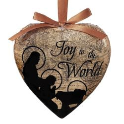Joy to the World Heart Shaped Decoupage Ornament - 6/pk