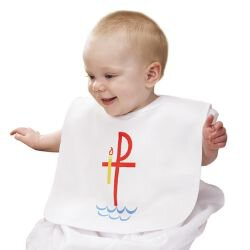 Baptismal Bib with Chi Rho - 6/pk