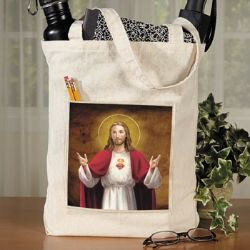 Sacred Heart Tote Bag with Pocket - 12/pk