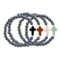 Hematite Cross Bracelets (4 Asst) - 12/pk