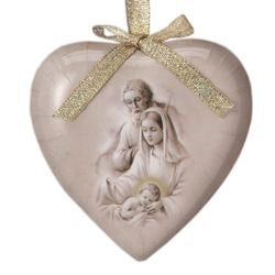 Nativity (Sepia) Heart Shaped Decoupage Ornament - 6/pk