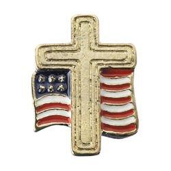 Cross with American Flag Lapel Pin - 25/pk