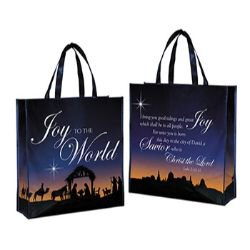 Joy to the World Laminated Tote Bag - 12/pk