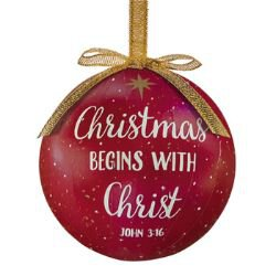 Christmas Begins with Christ Decoupage Ornament - 6/pk