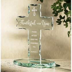 Thankful for You Glass Standing Cross