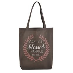 Grateful, Thankful, Blessed Tote Bag - 12/pk