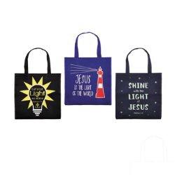 Glow-in-the-Dark Tote Bag Assortment (3 Asst) - 12/pk